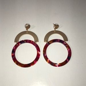 NWOT - Red & Gold Half Circle and Ring Earrings